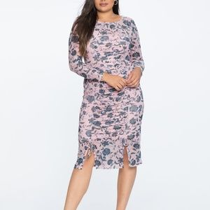 Eloquii Ruched Waist Long Sleeve Dress with Slits